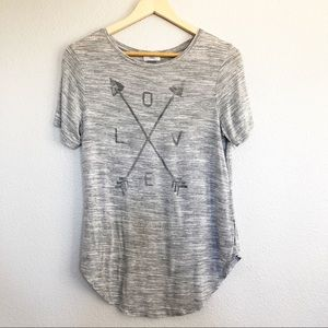 Old Navy Gray Graphic Tribal Arrow LOVE Top Small